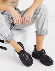 Черные туфли на плоской толстой подошве с молнией спереди Miya-Черный цвет ASOS DESIGN 10805967