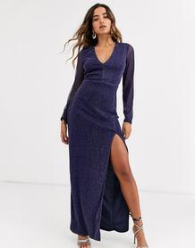 Синее платье макси с эффектом металлик, глубоким декольте и разрезом -Голубой Ax Paris 9249920