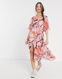 Платье миди с запахом и розовым цветочным принтом -Розовый цвет Liquorish 10884639