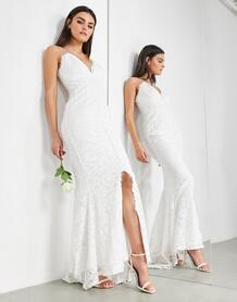 Кружевное свадебное платье на бретельках -Белый ASOS Edition 8938179