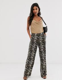 Широкие брюки со звериным принтом -Мульти VILA 8657430
