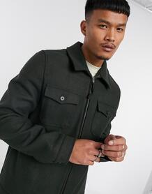Куртка Харрингтон цвета хаки изткани с добавлением шерсти -Зеленый ASOS DESIGN 10199212