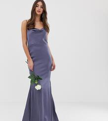 Синее атласное платье макси со свободным воротом и шлейфом -Серый Missguided Tall 8111154
