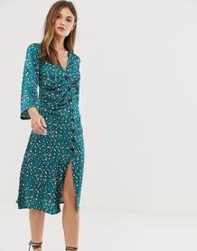 Платье миди на пуговицах с леопардовым принтом -Зеленый цвет Liquorish 8620345