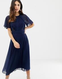 Плиссированное платье миди с рукавами клеш и кружевными вставками -Темно-синий ASOS DESIGN 7781888
