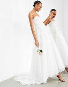 Свадебное платье-бандо с пышной юбкой и цветочной вышивкой Matilda-Белый ASOS Edition 11288060