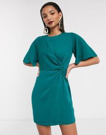 Зеленое платье мини с рукавами клеш -Зеленый ASOS DESIGN 9032043