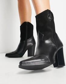 Черные сапоги в ковбойском стиле на каблуке Ezzy-Черный цвет Steve Madden 10330968