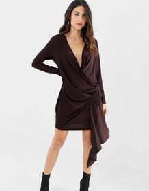 Платье мини с запахом и глубоким вырезом -Коричневый ASOS DESIGN 7893051