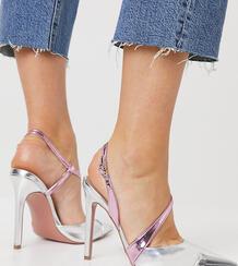 Туфли на высоком каблуке с асимметричной отделкой и эффектом металлик для широкой стопы Panni-Многоцветный ASOS DESIGN 10860104
