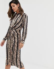 Платье-рубашка в полоску с леопардовым принтом -Мульти Liquorish 8332587