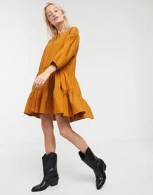 Светло-коричневое платье с завязкой -Коричневый Monki 9481394