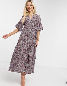 Платье миди с запахом и розовым цветочным принтом -Розовый цвет Liquorish 10884320