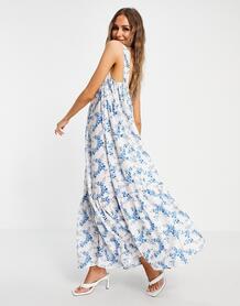 Объемное платье-трапеция с цветочным принтом -Многоцветный In The Style 11317066
