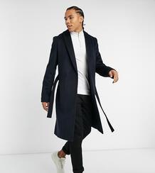 Темно-синее пальто с добавлением шерсти и поясом Tall-Темно-синий ASOS DESIGN 10205191