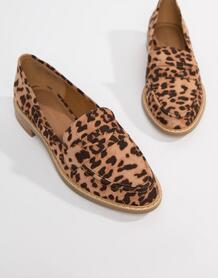 Лоферы на плоской подошве с леопардовым принтом -Коричневый ASOS DESIGN 7534074