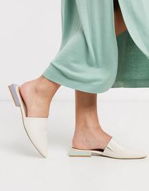 Туфли на плоской подошве с острым носом и комбинированным дизайном -Белый ASOS DESIGN 9422111