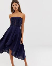 Платье-бандо с кружевным лифом и многослойной юбкой -Темно-синий ASOS DESIGN 8055850