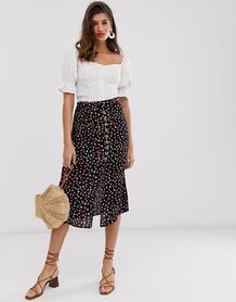 Черная юбка миди с цветочным принтом -Черный River Island 8533711