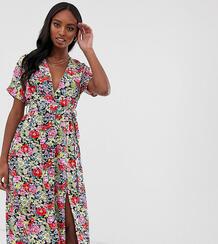Платье миди с плиссированной юбкой и поясом с винтажным принтом -Мульти Glamorous Tall 8333896