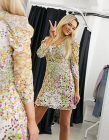 Платье мини с присборенными рукавами и цветочным принтом с люрексом -Многоцветный Liquorish 10884551