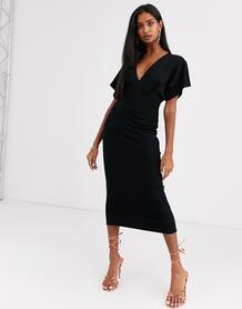 """Черное платье миди с рукавами """"летучая мышь"""" -Черный ASOS DESIGN 9181323"""