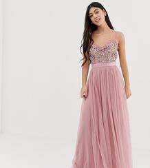 Розовое платье макси из тюля на бретельках с контрастной отделкой в винтажном стиле -Розовый Maya Petite 7267197