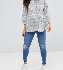 Рваные джинсы с посадкой под животом -Темно-синий New Look Maternity 6540988