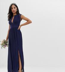 Темно-синее платье макси с кружевной отделкой -Темно-синий Tfnc 6985362