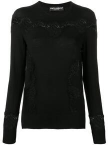 приталенный пуловер с кружевными вставками Dolce&Gabbana 136314865250