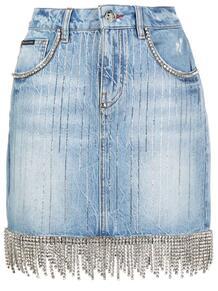 джинсовая юбка мини с бахромой PHILIPP PLEIN 161925125056