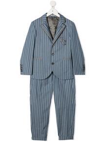 полосатый костюм с однобортным пиджаком Brunello Cucinelli Kids 16547724564557