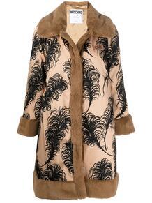 пальто с искусственным мехом и принтом Love Moschino 160927305156