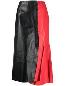 юбка с завышенной талией и контрастной вставкой Marni 165532135250