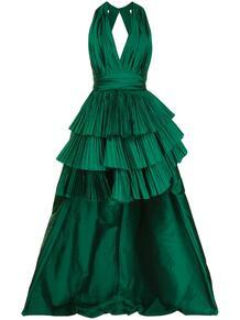 платье с глубоким вырезом и плиссировкой ElieSaab 162864235156