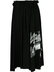 юбка миди с графичным принтом и складками Y3 1659550150