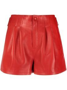 кожаные шорты с завышенной талией и складками Yves Saint Laurent 166666595154