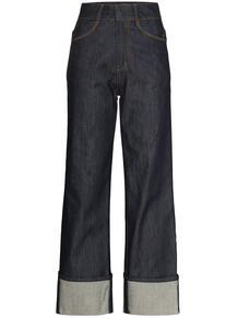 джинсы с завышенной талией и подвернутыми манжетами LOW CLASSIC 1607096583