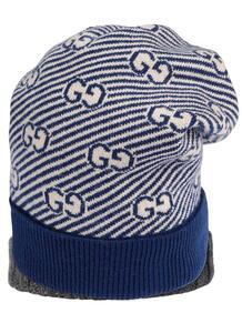 шапка бини вязки интарсия с логотипом GG GUCCI KIDS 1609718083