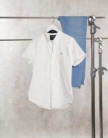 Белая облегающая оксфордская рубашка с короткими рукавами и логотипом -Белый Hollister 8545963