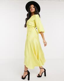 Желтое платье миди с запахом и объемными рукавами -Желтый Liquorish 10884663