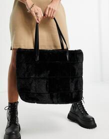 Черная сумка-тоут из искусственного меха -Черный цвет Skinnydip 11306249