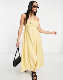 Желтое платье миди с лямками иприсборенным лифом -Желтый MISSGUIDED 11700022