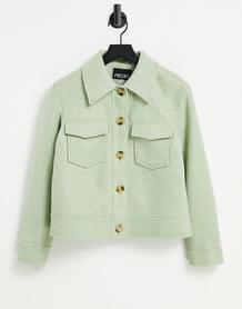 Шалфейно-зеленая куртка прямого кроя с карманами спереди -Зеленый цвет Pieces 11529699