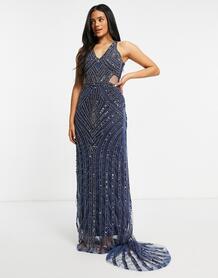 Темно-синее платье макси с декоративной отделкой и V-образным вырезом -Темно-синий A Star Is Born 11054182