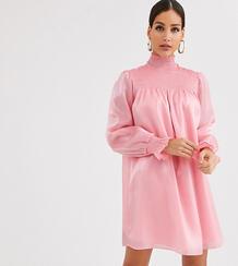 Свободное платье из органзы с высоким воротником и сборками -Розовый Glamorous Tall 9085938
