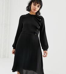Черное приталенное платье с пуговицами -Черный Vero Moda 7977404