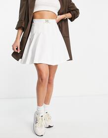 Белая юбка в теннисном стиле с фирменной фурнитурой -Белый River Island 11771428