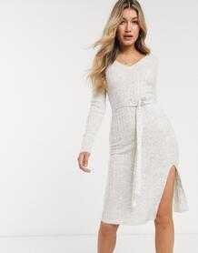 Трикотажное платье миди с поясом -Белый Abercrombie & Fitch 9440805