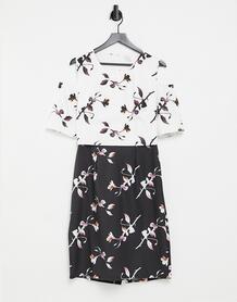 Черно-белое платье c комбинированным дизайном -Многоцветный Little Mistress 7015313